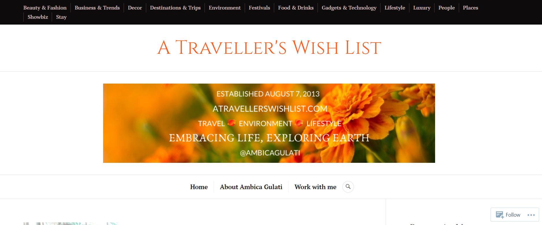 A Traveller's Wish List