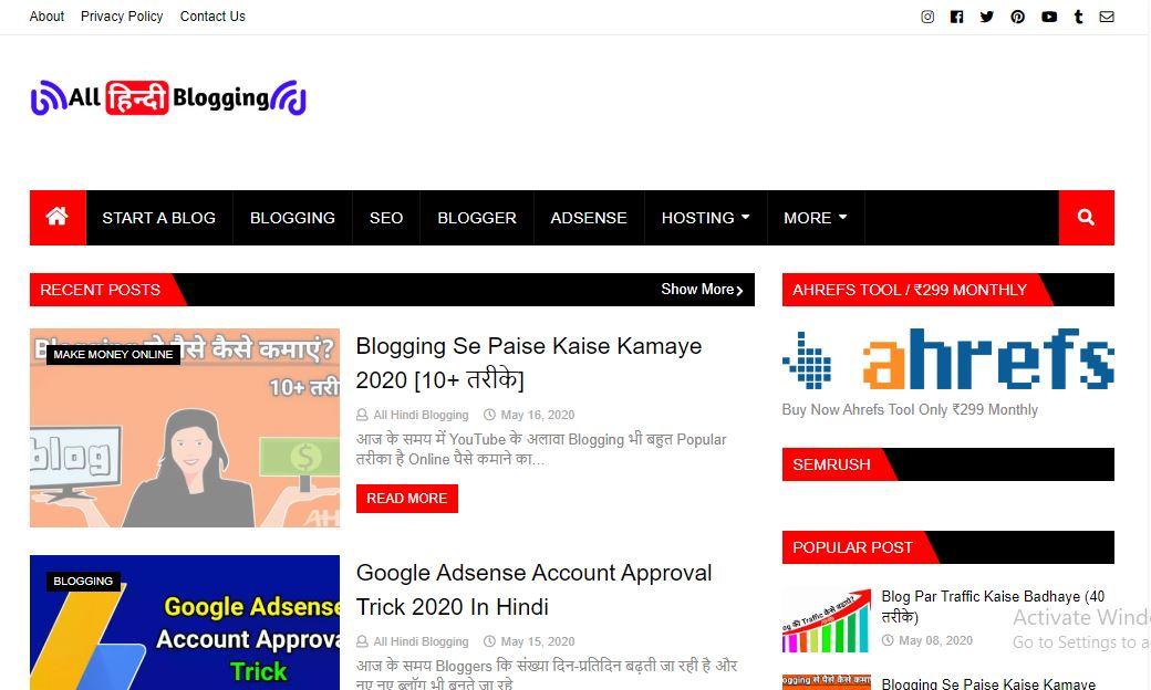 All Hindi Blogging