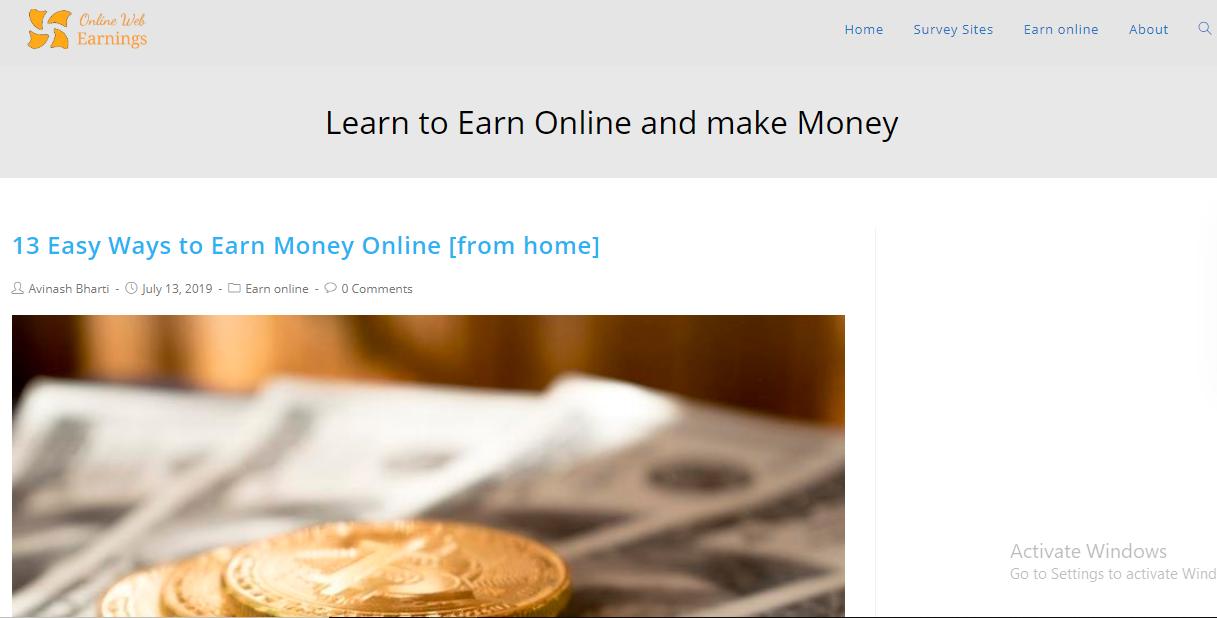Online Web Earnings